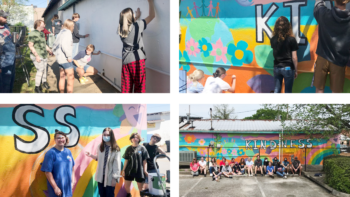 Collage of images containing student painting mural on building in Jackson